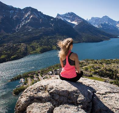 mountain outdoor person nature rock lake clothing summer water woman overlooking highland