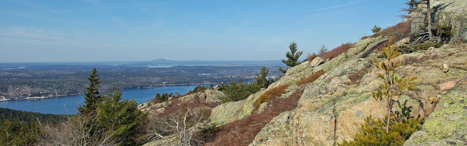 Parkman Mountain, Maine - Hiking  outdoor mountain sky rock water lake nature landscape tree hill beach rocky hillside plant overlooking lush