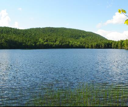 Norumbega Mountain, Maine  tree sky outdoor cloud mountain lake nature surrounded forest day lush highland plant